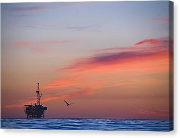 Solar Phenomena Canvas Print - Offshore Oil And Gas Rig In The Pacific by James Forte