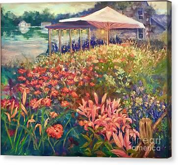 Ogunquit Gardens At Waterside Restaurant Canvas Print by Gail Allen