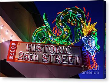 Canvas Print featuring the photograph Ogden's Historic 25th Street Neon Dragon Sign by Gary Whitton