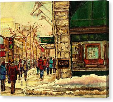 Montreal Winter Scenes Canvas Print - Ogilvys Department Store Downtown Montreal by Carole Spandau