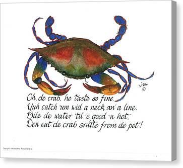 Oh De Crab Canvas Print by Vida Miller