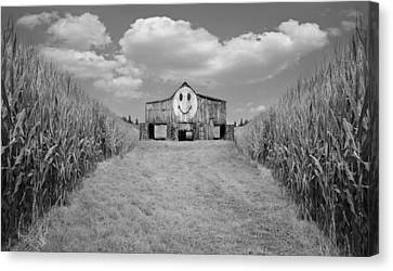 Oh Happy Day Black And White Canvas Print
