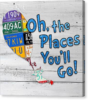 Inspire Canvas Print - Oh The Places Youll Go Dr Seuss Inspired Recycled Vintage License Plate Art On Wood by Design Turnpike