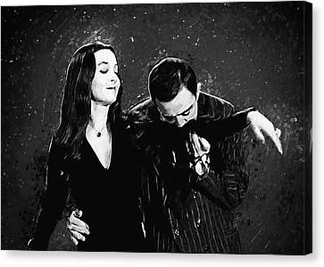 Canvas Print featuring the digital art Oh Tish I Love It When You Speak French - The Addams Family  by Taylan Apukovska