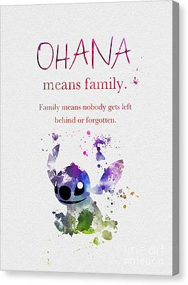 Ohana Means Family 3 Canvas Print by Rebecca Jenkins