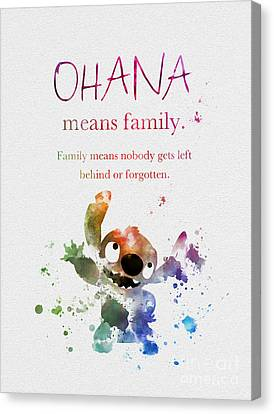 Ohana Means Family Canvas Print by Rebecca Jenkins