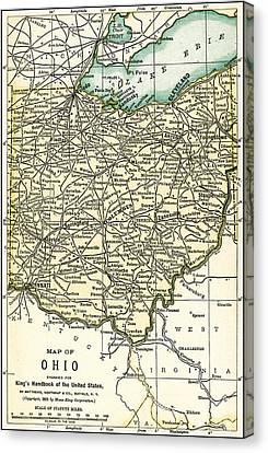 Ohio Antique Map 1891 Canvas Print