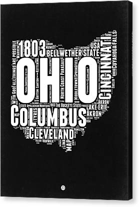 Ohio Black And White Word Cloud Map Canvas Print by Naxart Studio