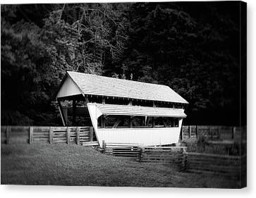 Covered Bridges Canvas Print - Ohio Covered Bridge In Black And White by Tom Mc Nemar