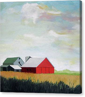 Canvas Print - Ohio Farmland- Red Barn by Linda Apple