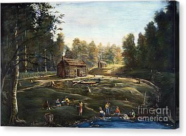 Log Cabins Canvas Print - Ohio: Log Cabin & Farm by Granger
