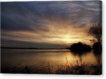Evansville Canvas Print - Ohio River Sunset by Sandy Keeton