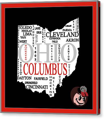 Ohio State Map Typography Canvas Print by Dan Sproul
