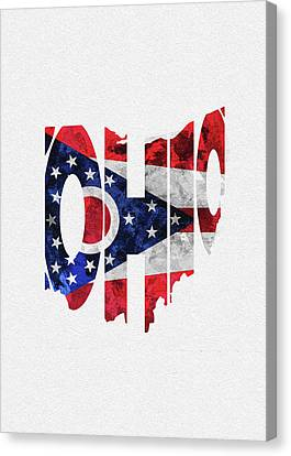 Abstract Map Canvas Print - Ohio Typographic Map Flag by Inspirowl Design