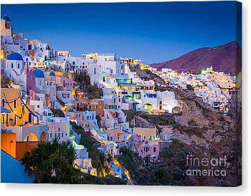 Aegean Canvas Print - Oia Hillside by Inge Johnsson