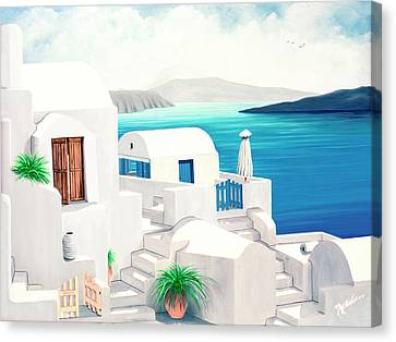 Oia On Santorini - Prints From My Oil Paintings Canvas Print