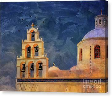Canvas Print featuring the photograph Oia Sunset Imagined by Lois Bryan