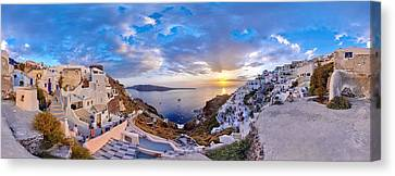 Oia Sunset Canvas Print by Milos Novakovic