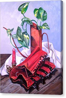 Canvas Print featuring the painting Oil Can And Corset by Laura Aceto