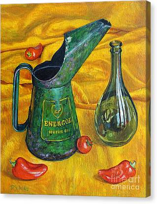 Oil Can With Red Canvas Print by Tilly Willis