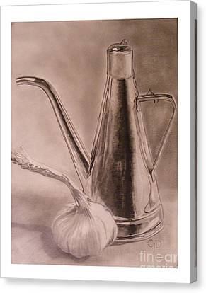 Oil Container And Garlic Canvas Print by Crispin  Delgado