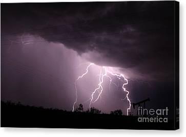 Oil Field Lightning Canvas Print