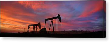 Oil Field Sunset Canvas Print by Greg Iger