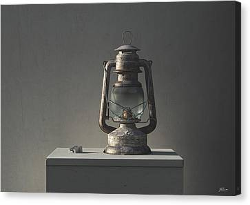 Oil Lamp Canvas Print - Oil Lamp And Sharpener by Stephen Parkinson