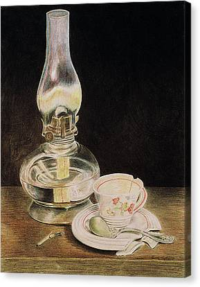 Oil Lamp And Tea Cup Canvas Print by Timothy Theis