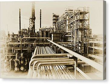 Canvas Print featuring the photograph Oil Refinery In Old Vintage Processing Concept by Christian Lagereek