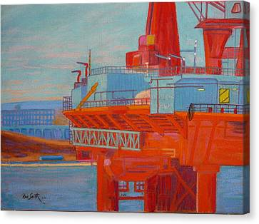 Oil Rig In Halifax Harbour Canvas Print