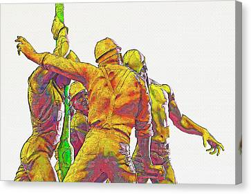 Oil Rig Workers 5 Canvas Print by Steve Ohlsen