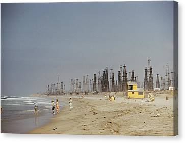 Pacific Coast States Canvas Print - Oil Rigs Line Huntington Beach by J Baylor Roberts