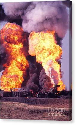 Oil Well Fire Canvas Print by Larry Keahey