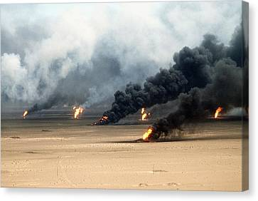Oil Well Fires Rage Outside Kuwait City Canvas Print