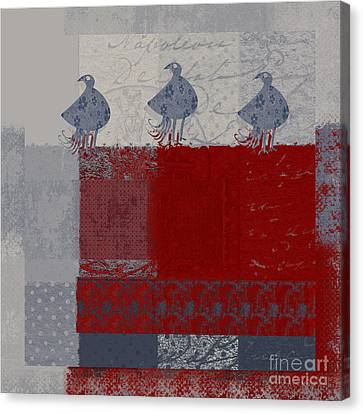 Canvas Print featuring the digital art Oiselot - J106161103_02bb by Variance Collections