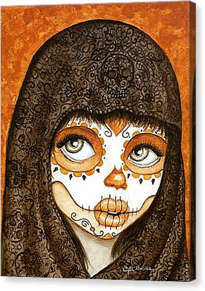 Canvas Print featuring the painting Ojos Brillantes by Al  Molina