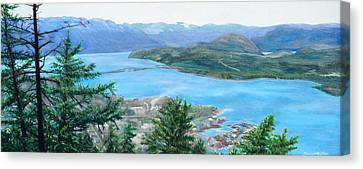 Canvas Print featuring the painting Okanagan Blue by Bonnie Heather