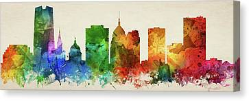 Oklahoma City Skyline Panorama Usokoc-pa03 Canvas Print