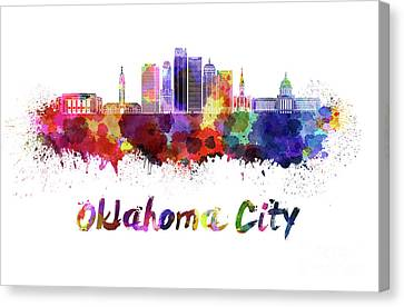 Oklahoma City V2 Skyline In Watercolor Canvas Print by Pablo Romero