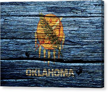 Reds Of Autumn Canvas Print - Oklahoma State Flag 2w by Brian Reaves