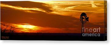 Canvas Print featuring the photograph Oklahoma Sunset by Larry Keahey