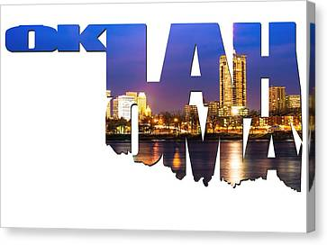 Oklahoma Typographic Letters - Riverside View Of Tulsa Oklahoma Skyline Canvas Print by Gregory Ballos