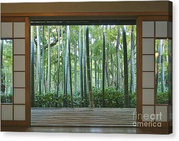Bamboo House Canvas Print - Okochi Sanso Villa Bamboo Garden by Rob Tilley