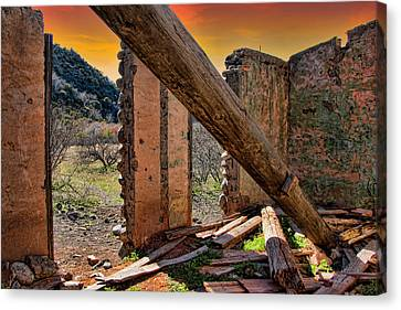Ol' Building In Desert's Winter Warmth Canvas Print by Charles Ables