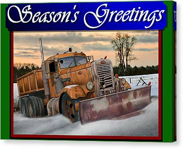Old Trucks Canvas Print - Ol' Pete Snowplow Christmas Card by Stuart Swartz