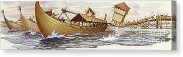Olaf Of Norway Pulls Down The Supports Of London Bridge Canvas Print