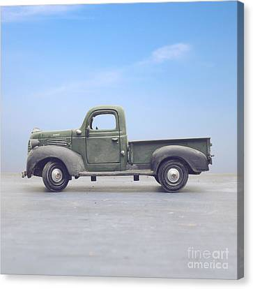 Old Trucks Canvas Print - Old 1940s Plymouth Green Truck by Edward Fielding