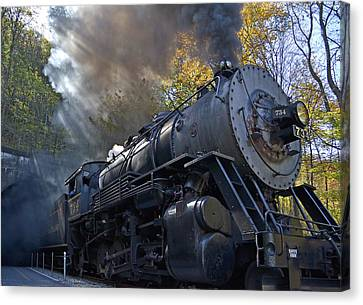 Old 734 Locomotive Train On The Western Maryland Scenic Railroad Canvas Print by Brendan Reals