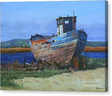 Canvas Print featuring the painting Old Abandoned Boat by Noe Peralez